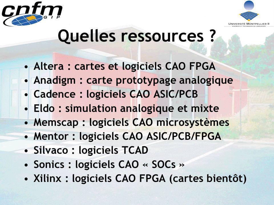 Quelles ressources Altera : cartes et logiciels CAO FPGA
