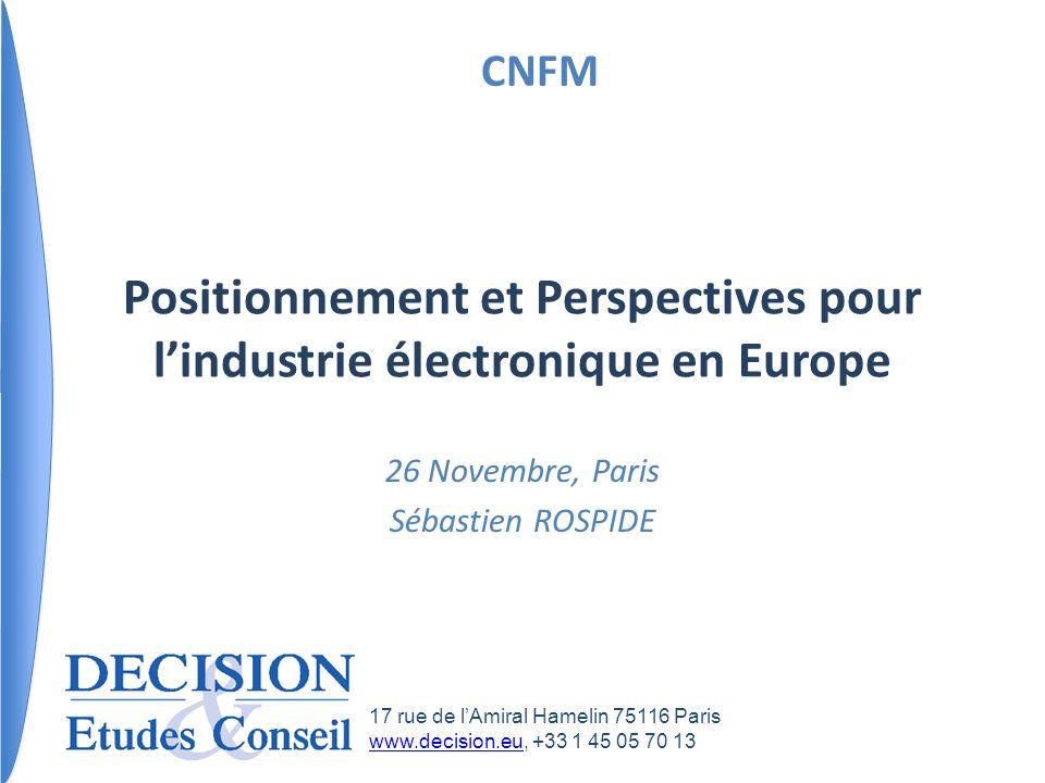 Positionnement et Perspectives pour l'industrie électronique en Europe