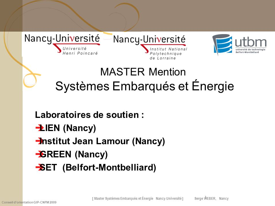 MASTER Mention Systèmes Embarqués et Énergie