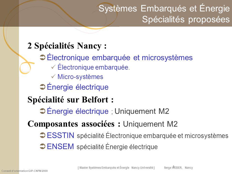 Systèmes Embarqués et Énergie Spécialités proposées