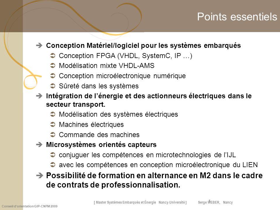 Points essentiels Conception Matériel/logiciel pour les systèmes embarqués. Conception FPGA (VHDL, SystemC, IP …)