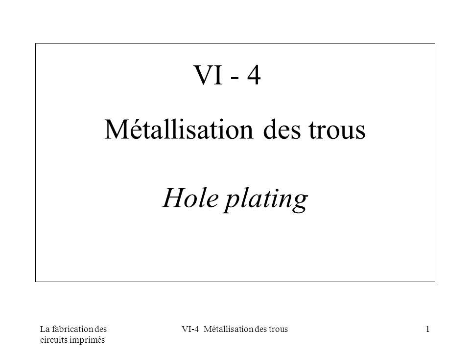 Métallisation des trous Hole plating