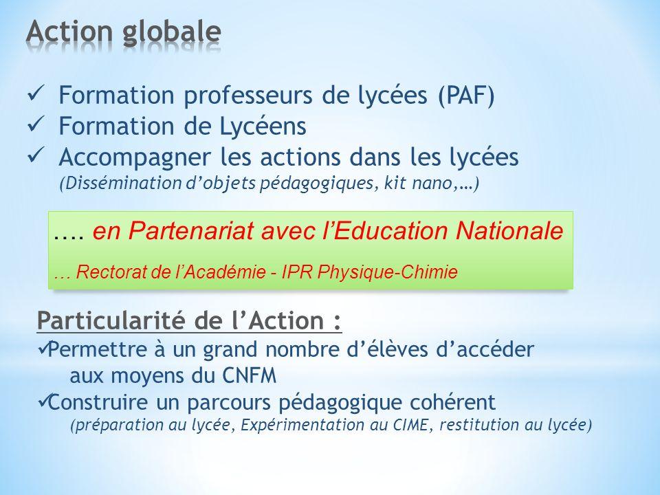 Action globale Formation professeurs de lycées (PAF)