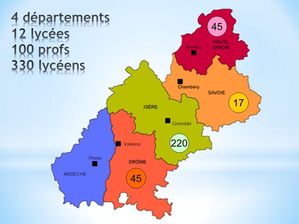 4 départements 12 lycées 100 profs 330 lycéens