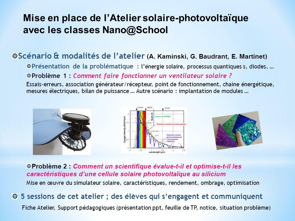 Mise en place de l'Atelier solaire-photovoltaïque avec les classes Nano@School