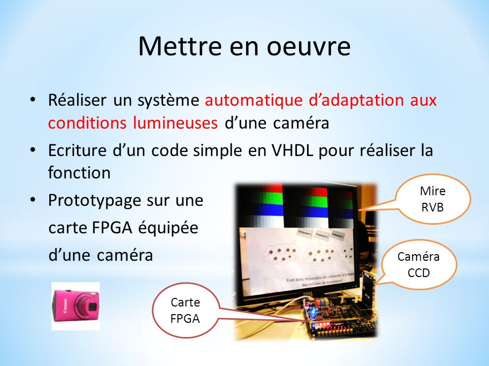 Mettre en oeuvreRéaliser un système automatique d'adaptation aux conditions lumineuses d'une caméra.