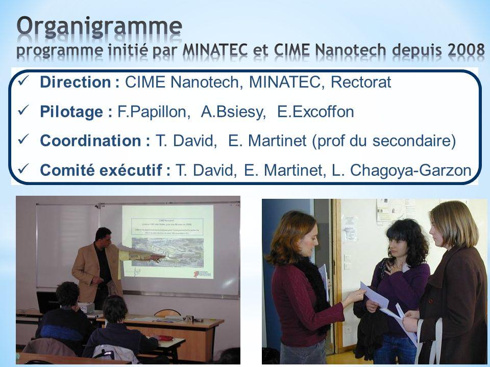Organigramme programme initié par MINATEC et CIME Nanotech depuis 2008
