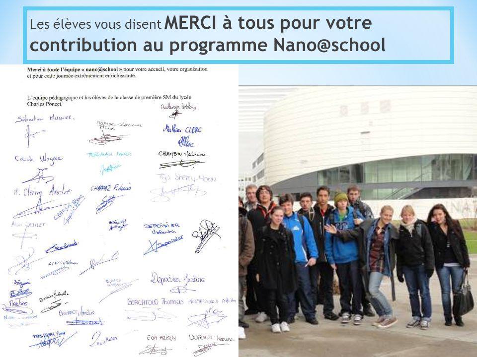 Les élèves vous disent MERCI à tous pour votre contribution au programme Nano@school