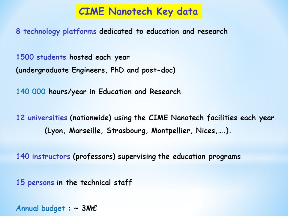 CIME Nanotech Key data 8 technology platforms dedicated to education and research. 1500 students hosted each year.