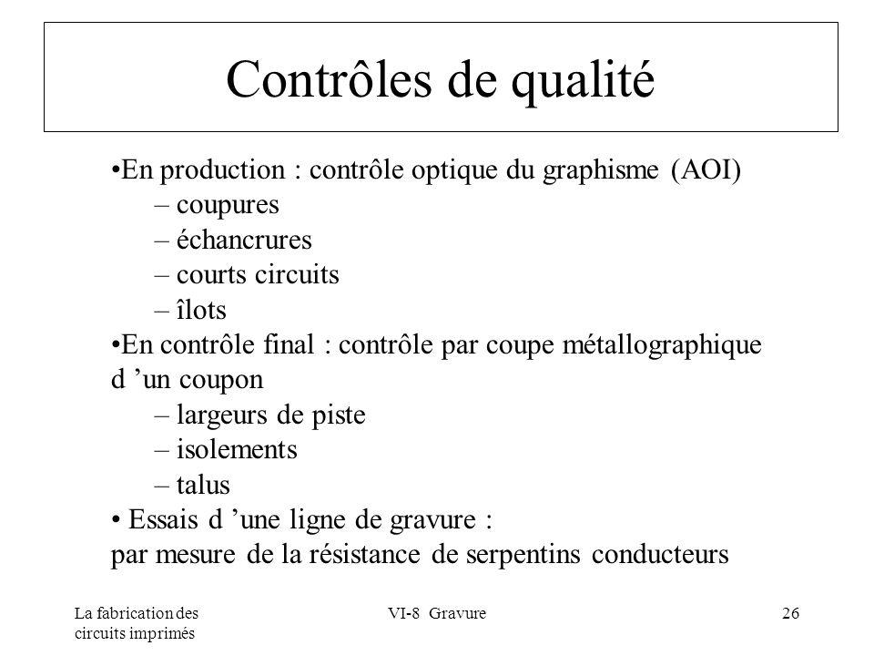 Contrôles de qualité En production : contrôle optique du graphisme (AOI) coupures. échancrures. courts circuits.
