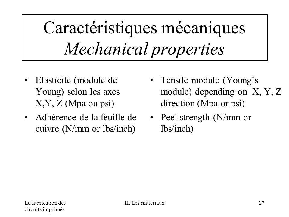 Caractéristiques mécaniques Mechanical properties