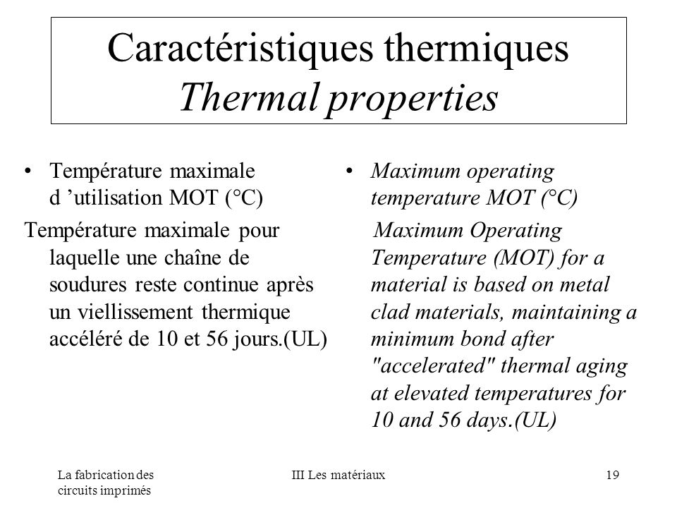 Caractéristiques thermiques Thermal properties