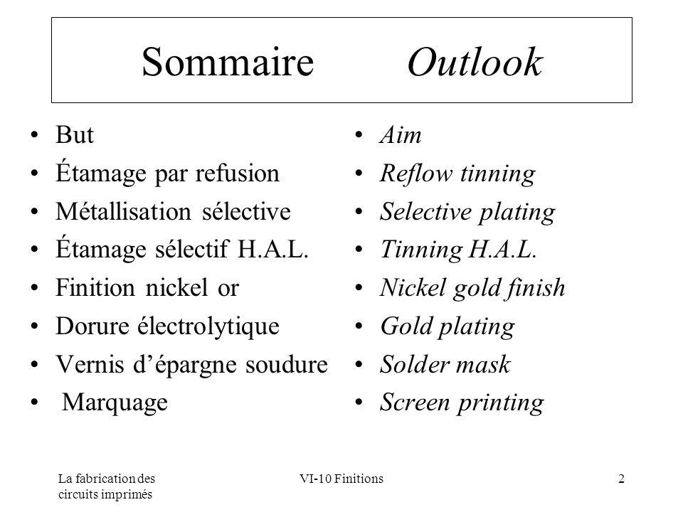 Sommaire Outlook But Étamage par refusion Métallisation sélective