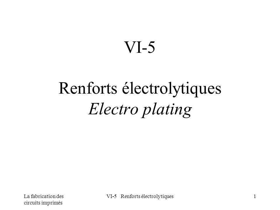 VI-5 Renforts électrolytiques Electro plating