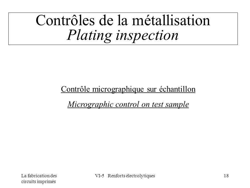 Contrôles de la métallisation Plating inspection