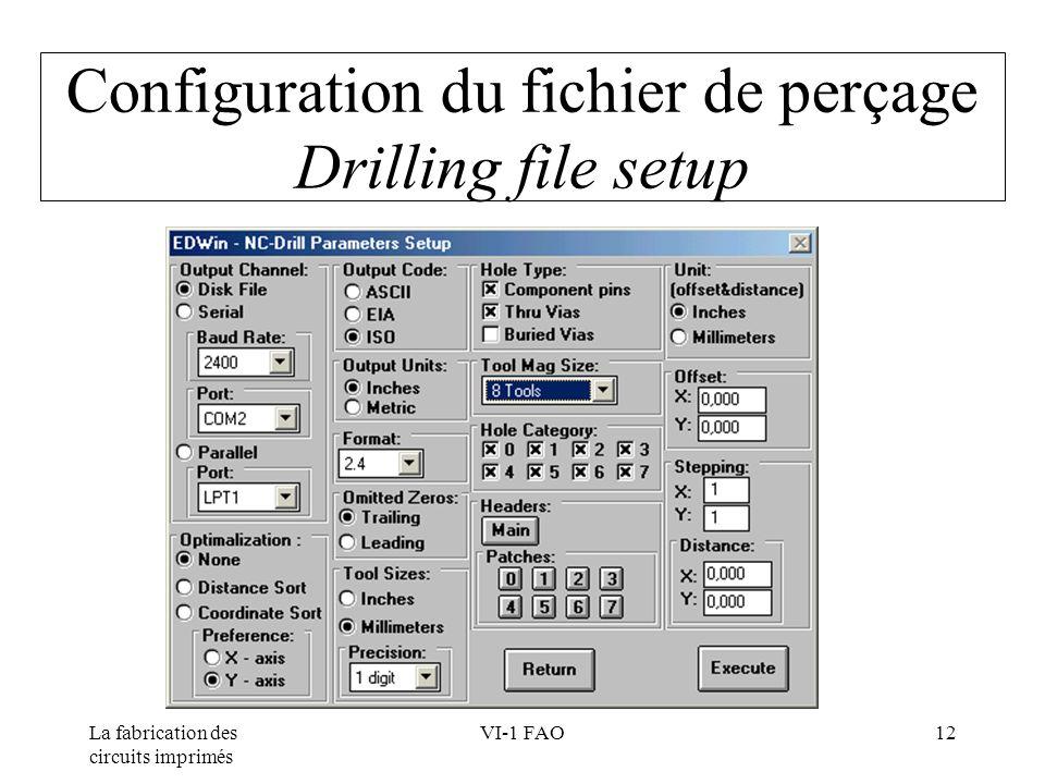 Configuration du fichier de perçage Drilling file setup
