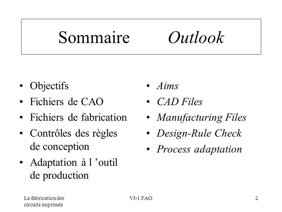 Sommaire Outlook Objectifs Fichiers de CAO Fichiers de fabrication