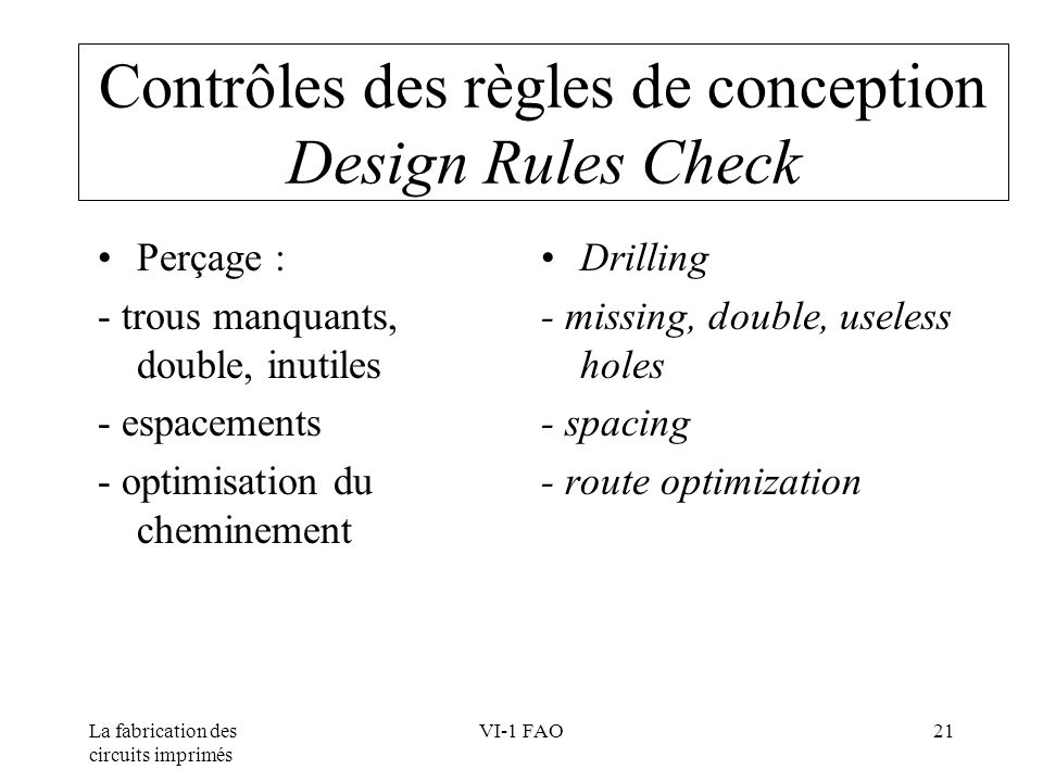 Contrôles des règles de conception Design Rules Check