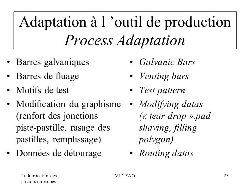 Adaptation à l 'outil de production Process Adaptation