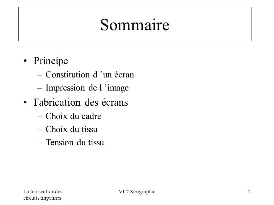 Sommaire Principe Fabrication des écrans Constitution d 'un écran