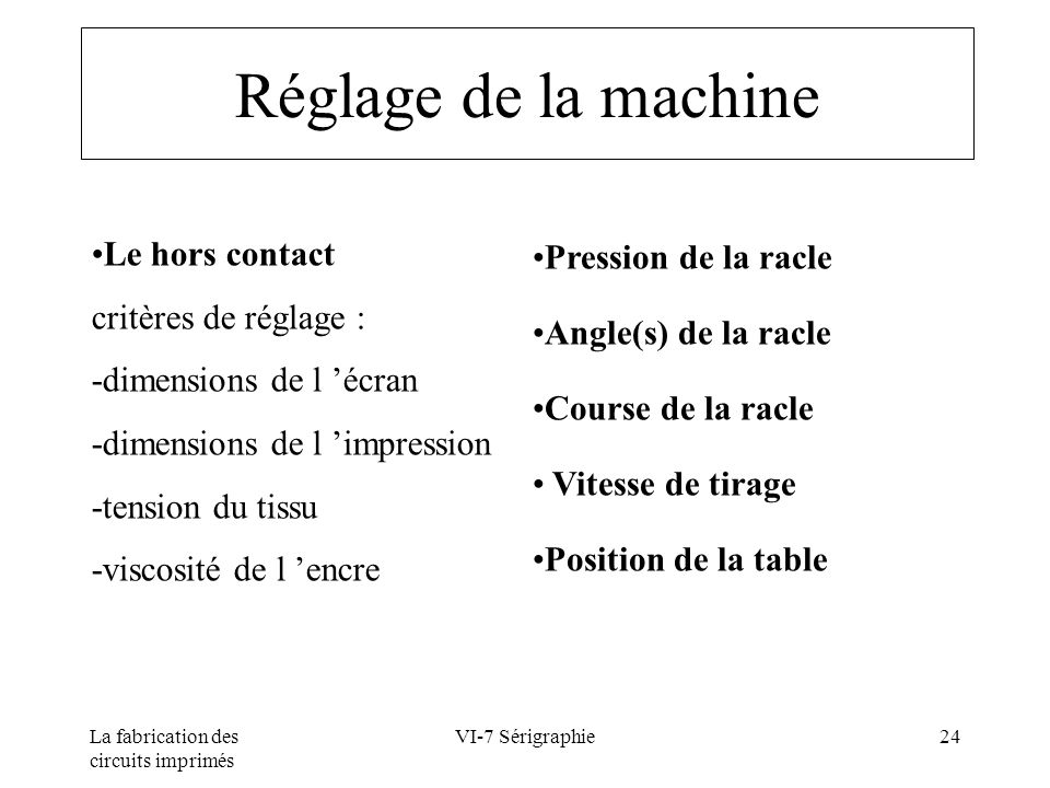 Réglage de la machine Pression de la racle Le hors contact