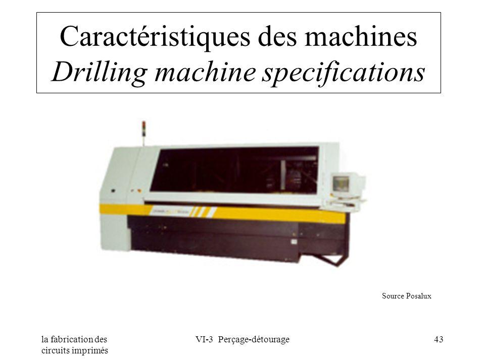 Caractéristiques des machines Drilling machine specifications