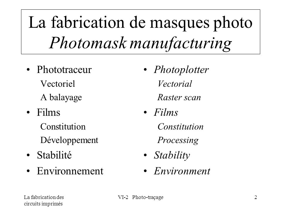La fabrication de masques photo Photomask manufacturing