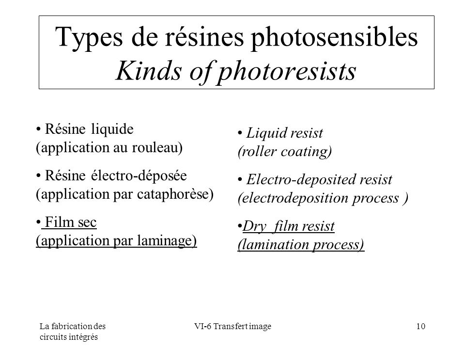 Types de résines photosensibles Kinds of photoresists