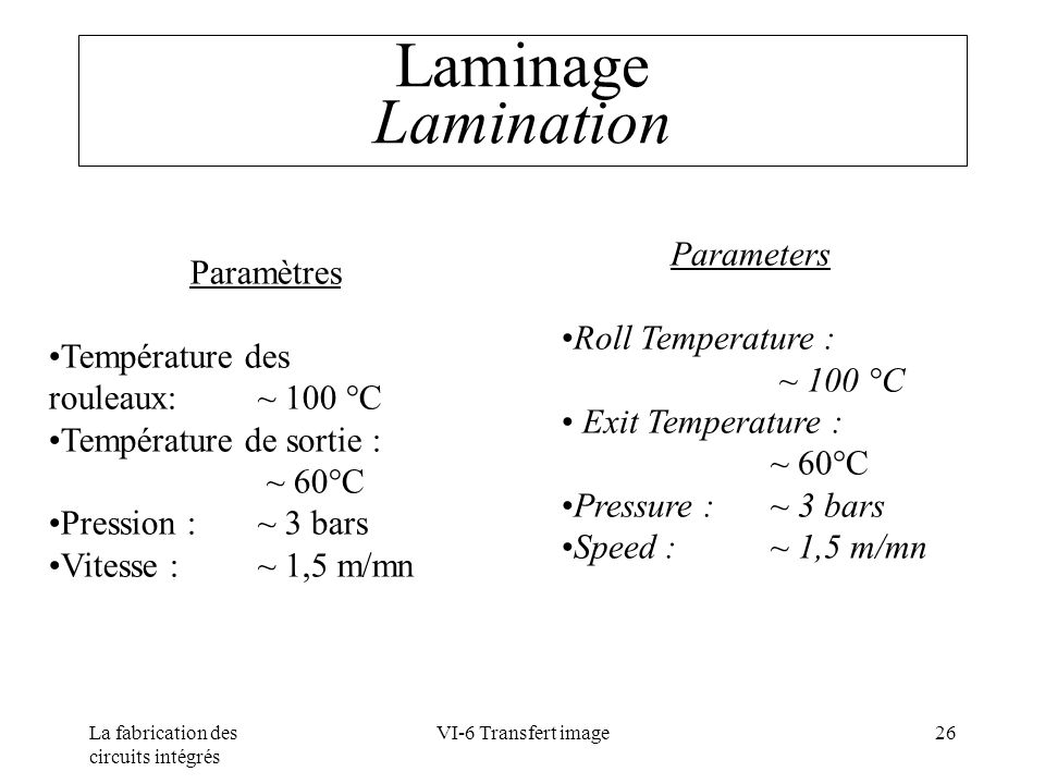 Laminage Lamination Paramètres Température des rouleaux: ~ 100 °C
