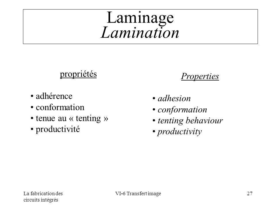Laminage Lamination propriétés Properties adhérence adhesion