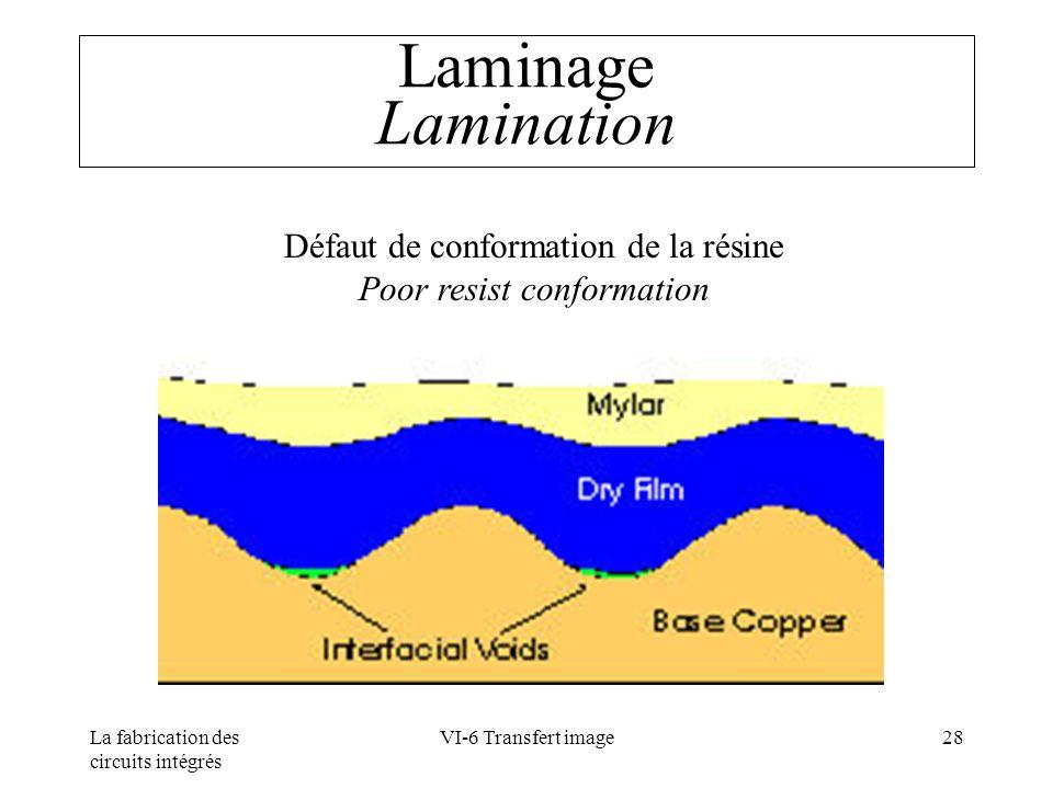 Laminage Lamination Défaut de conformation de la résine