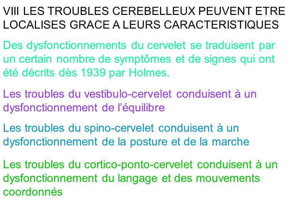 VIII LES TROUBLES CEREBELLEUX PEUVENT ETRE LOCALISES GRACE A LEURS CARACTERISTIQUES