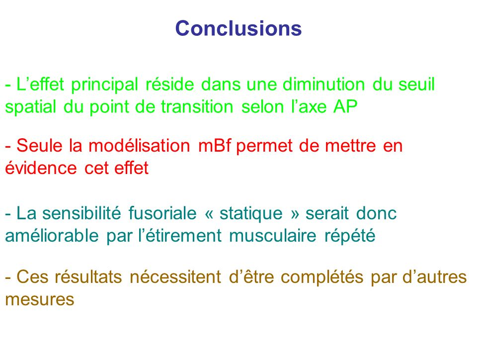 Conclusions L'effet principal réside dans une diminution du seuil spatial du point de transition selon l'axe AP.