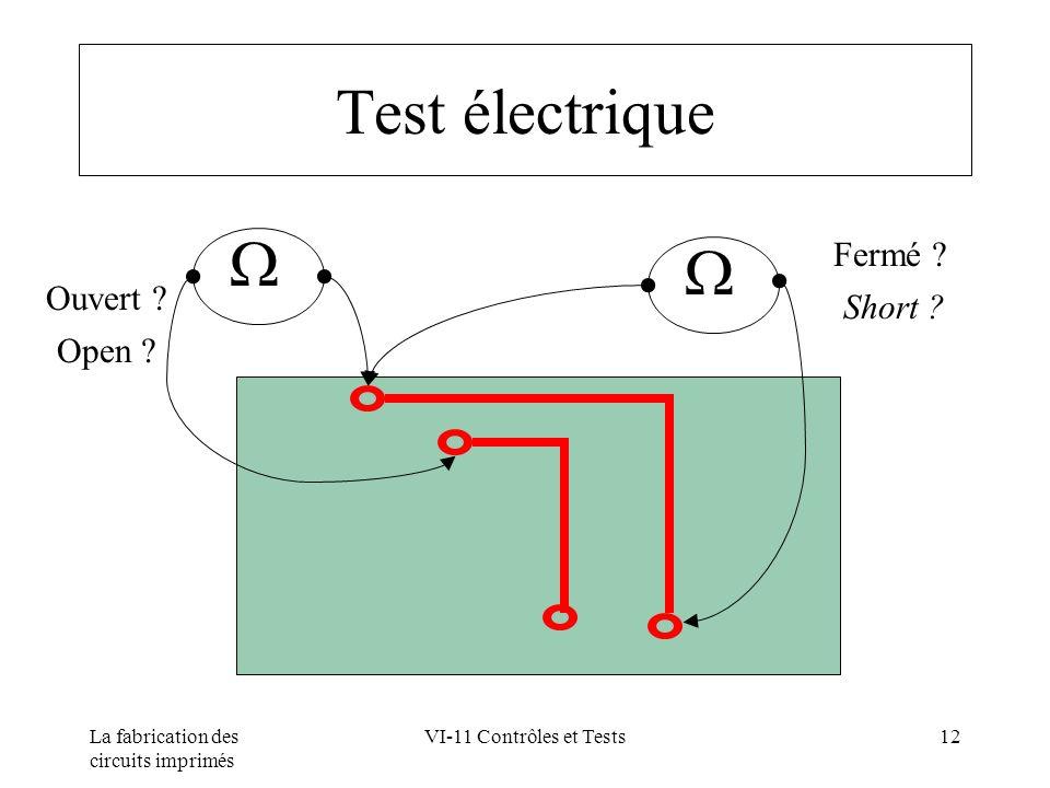 Test électrique  Fermé Short Ouvert Open