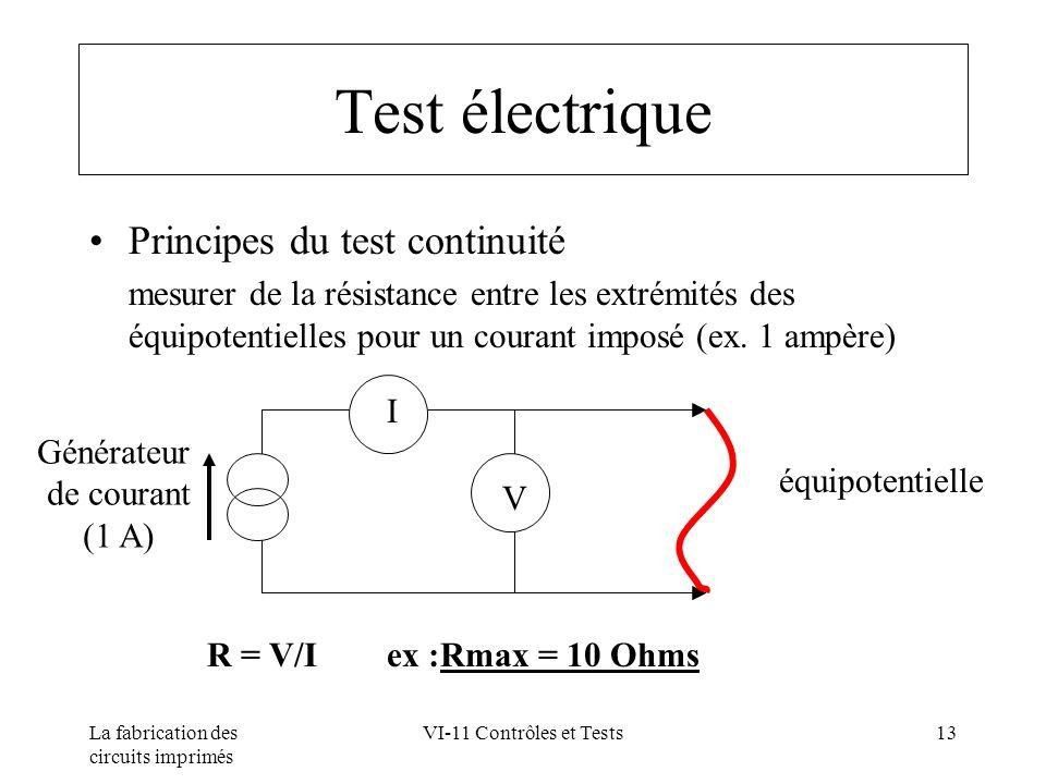 Test électrique Principes du test continuité