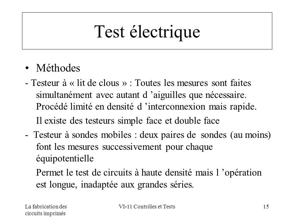 Test électrique Méthodes
