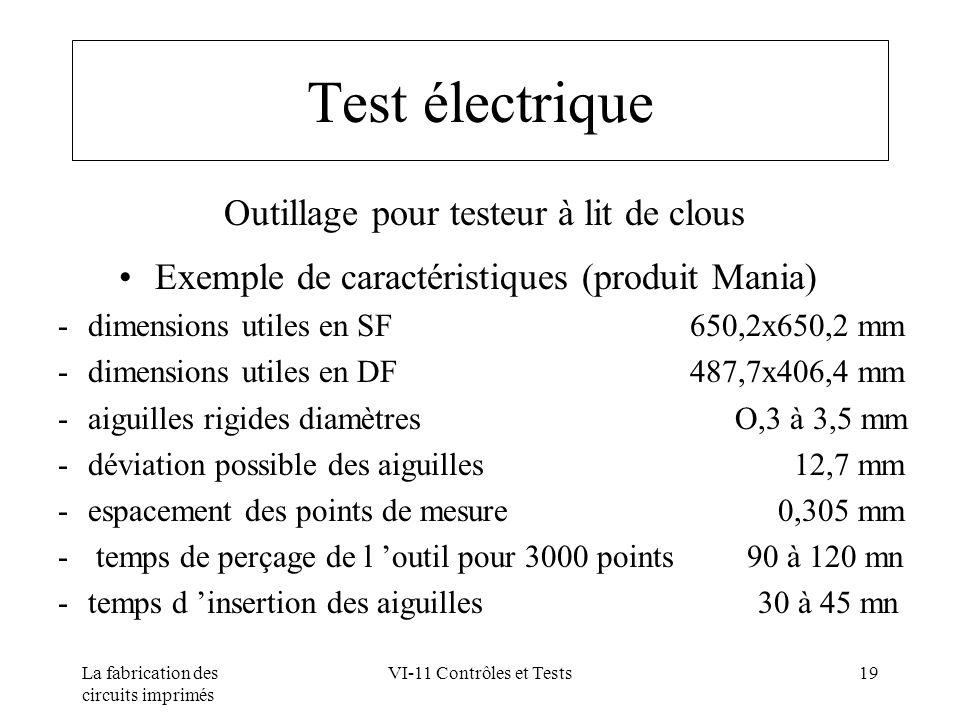 Test électrique Outillage pour testeur à lit de clous