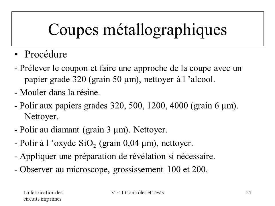 Coupes métallographiques