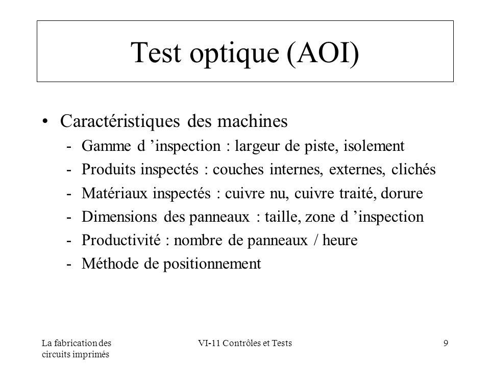 Test optique (AOI) Caractéristiques des machines