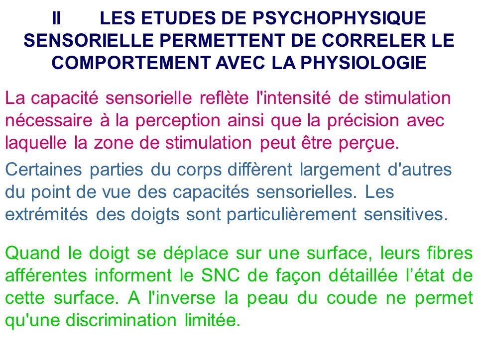 II LES ETUDES DE PSYCHOPHYSIQUE SENSORIELLE PERMETTENT DE CORRELER LE COMPORTEMENT AVEC LA PHYSIOLOGIE