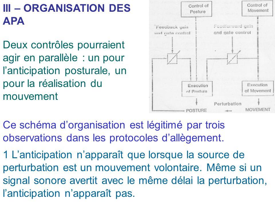 III – ORGANISATION DES APA
