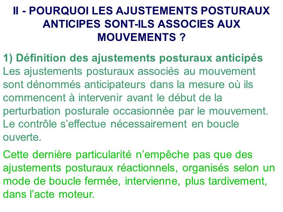 II - POURQUOI LES AJUSTEMENTS POSTURAUX ANTICIPES SONT-ILS ASSOCIES AUX MOUVEMENTS
