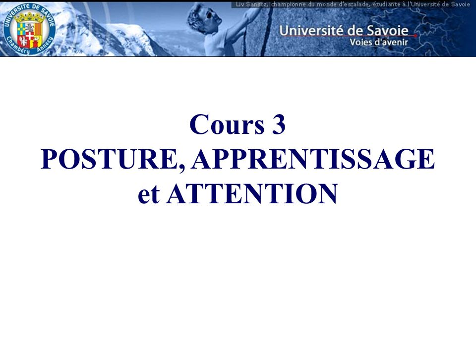 POSTURE, APPRENTISSAGE