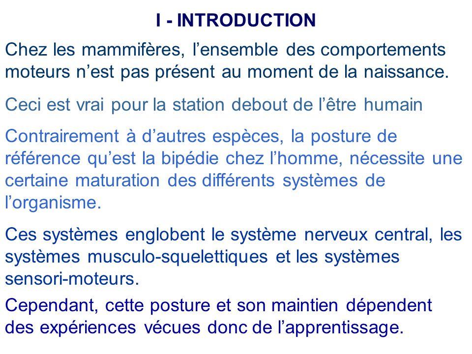 I - INTRODUCTION Chez les mammifères, l'ensemble des comportements moteurs n'est pas présent au moment de la naissance.