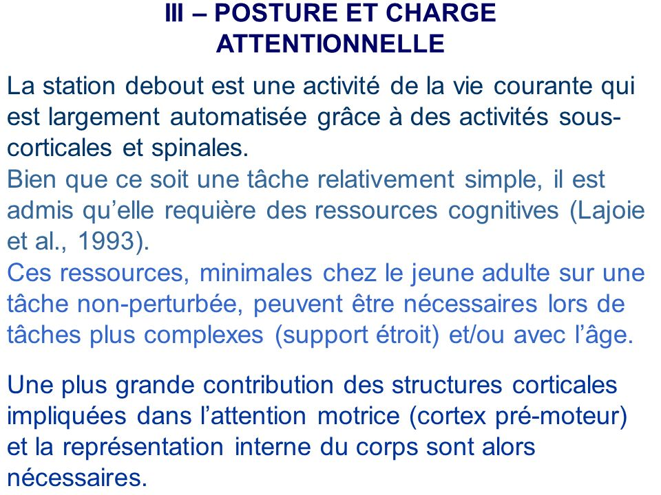 III – POSTURE ET CHARGE ATTENTIONNELLE