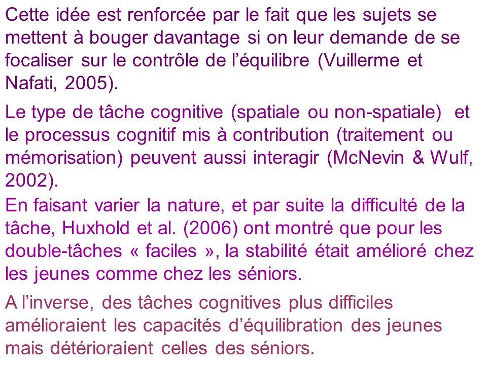 Cette idée est renforcée par le fait que les sujets se mettent à bouger davantage si on leur demande de se focaliser sur le contrôle de l'équilibre (Vuillerme et Nafati, 2005).