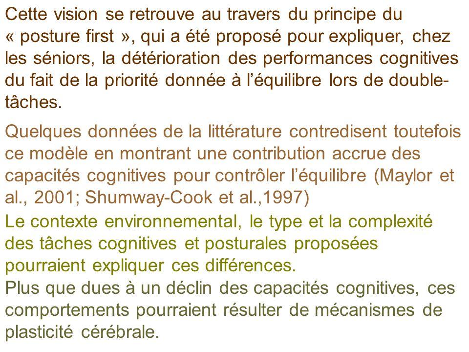 Cette vision se retrouve au travers du principe du « posture first », qui a été proposé pour expliquer, chez les séniors, la détérioration des performances cognitives du fait de la priorité donnée à l'équilibre lors de double-tâches.