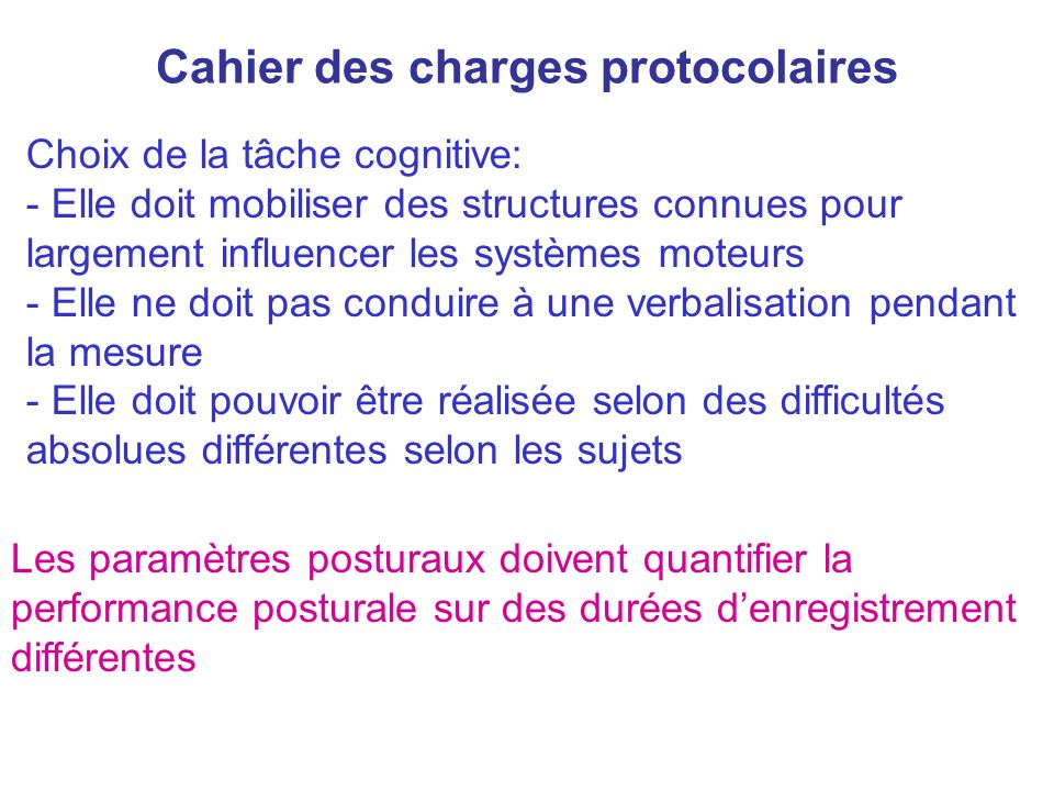Cahier des charges protocolaires