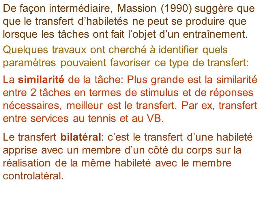 De façon intermédiaire, Massion (1990) suggère que que le transfert d'habiletés ne peut se produire que lorsque les tâches ont fait l'objet d'un entraînement.