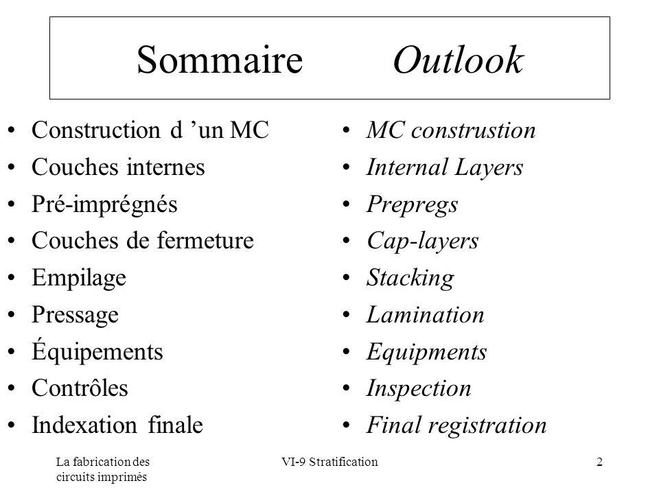Sommaire Outlook Construction d 'un MC Couches internes Pré-imprégnés